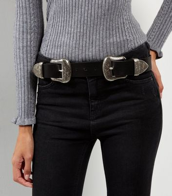 Black Double Buckle Western Jeans Belt