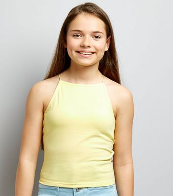 Teens Pale Yellow High Neck Cami
