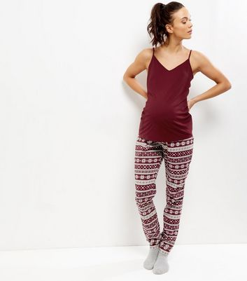 Maternity Burgundy Fairisle Pyjama Set