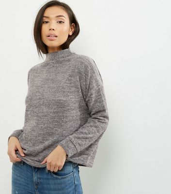 Black Stripe Funnel Neck Sweater