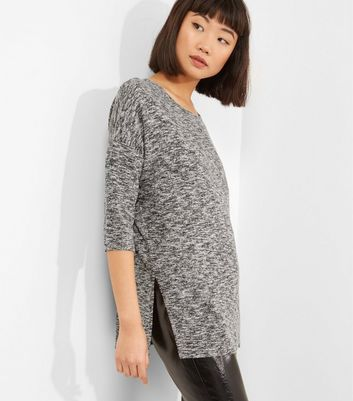 Pale Grey Split Side Crew Neck Top