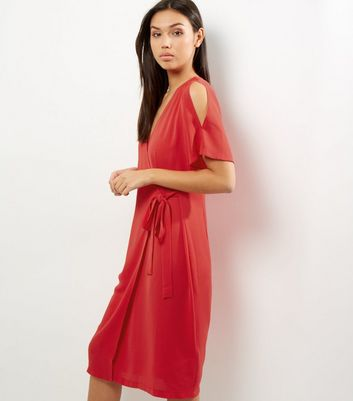Red Short Sleeve Wrap Front Midi Dress