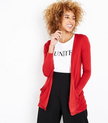 Red Double Pocket Cardigan