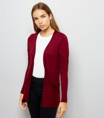 Burgundy Double Pocket Cardigan