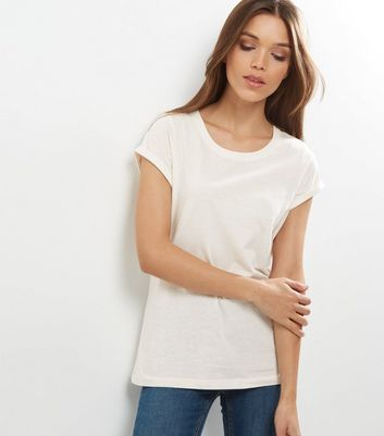 Tall Cream Rolled Sleeve T-shirt