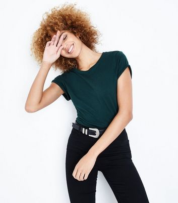 Tall Dark Green Roll Sleeve T-shirt