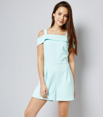 Teens Mint Green Cold Shoulder Playsuit