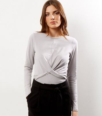 Pale Grey Twist Front Long Sleeve Top