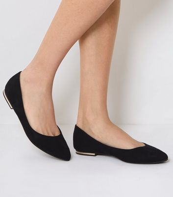 Black Suedette Metal Heel Pointed Pumps