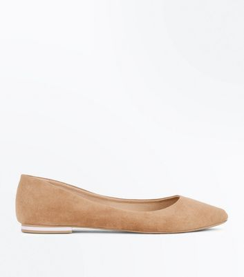 Mink Suedette Metal Trim Pointed Pumps