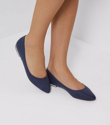 Blue Suedette Metal Trim Pointed Pumps