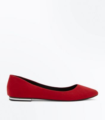 Dark Red Suedette Metal Trim Pointed Pumps