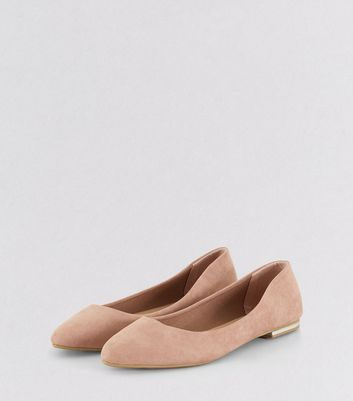 Pink Suedette Metal Trim Pointed Pumps