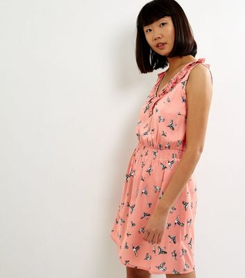 Pink Bird Print Frill Trim Tea Dress