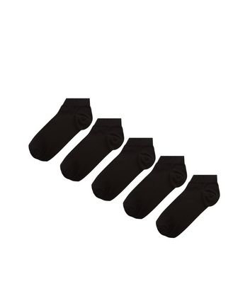 5 Pack Black Trainer Socks