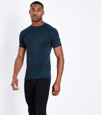 Blue Seamless Short Sleeve Sports T-Shirt