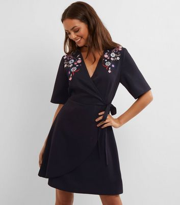 Tall Black Floral Embroidered Wrap Front Dress