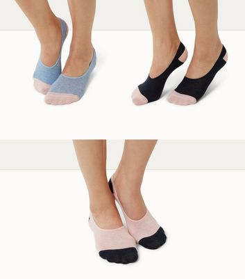 3 Pack Pink Contrast Toe Pop Socks