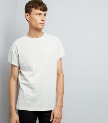 Pale Grey Cotton Rolled Sleeve T-Shirt