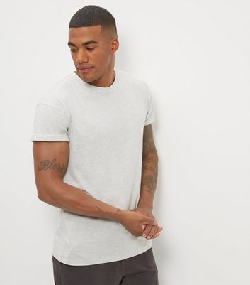 Cream Cotton Rolled Sleeve T-Shirt