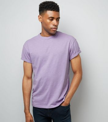 Purple Cotton Rolled Sleeve T-Shirt