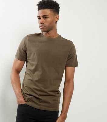 Khaki Cotton Crew Neck T-Shirt