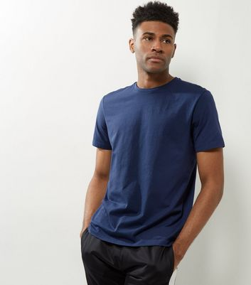 Blue Cotton Crew Neck T-Shirt