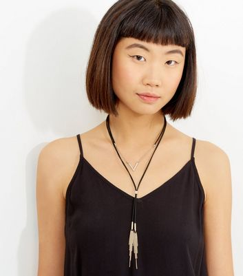 Black Layered Tassel Drop Necklace
