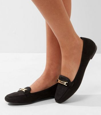 Black Suedette Metallic Trim Loafers