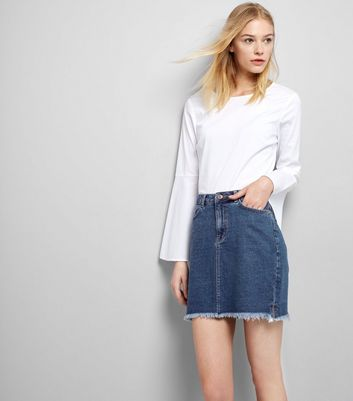 Blue Fringed Hem Denim Skirt
