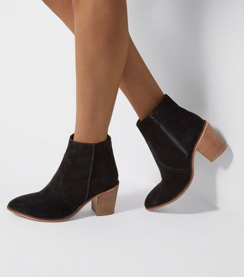 Wide Fit - Bottines noires en daim style western