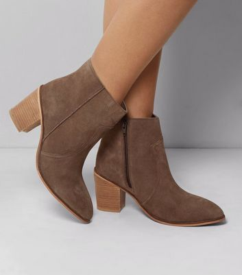 Wide Fit Brown Suede Western Ankle Boots
