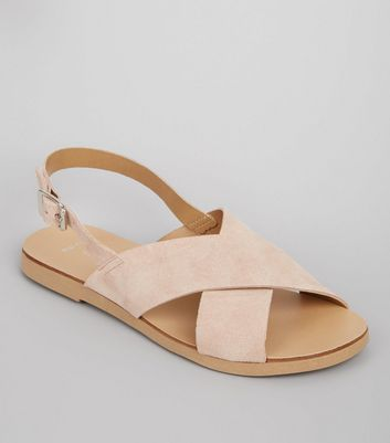 Wide Fit Cream Leather Cross Strap Sandals