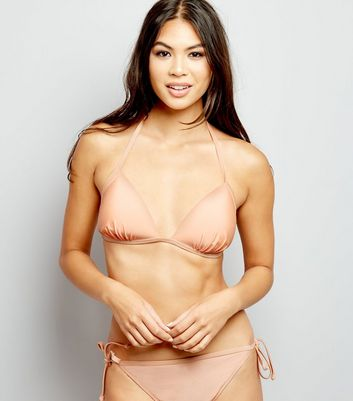 Light Coral Moulded Triangle Bikini Top