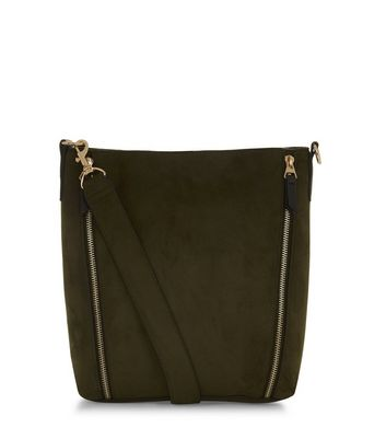 Khaki Suedette Bucket Bag