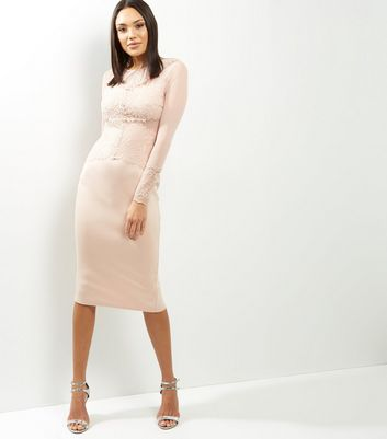 AX Paris Shell Pink Lace Long Sleeve Midi Dress