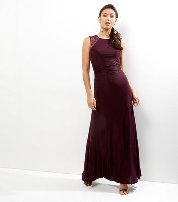 AX Paris Dark Purple Lace Panel Sleeveless Maxi Dress