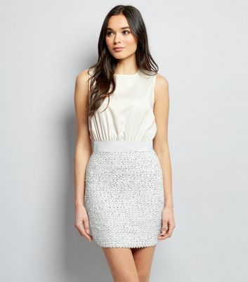 AX Paris White Sequin Skirt 2 in 1 Dress