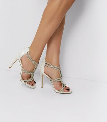 Silver Sateen Diamanté Cross Strap Heeled Sandals