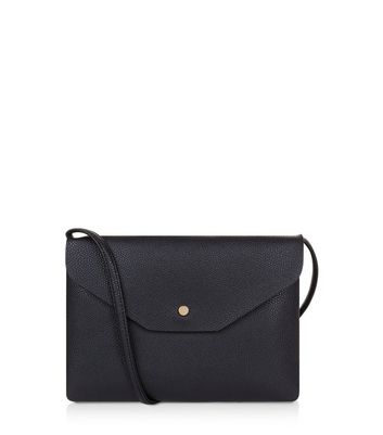 Black Leather-Look Foldover Cross Body Bag