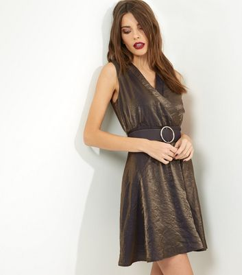 Mela Gold Metallic Belted Dress