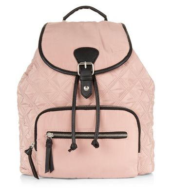 Light Pink Contrast Trim Quilted Backpack