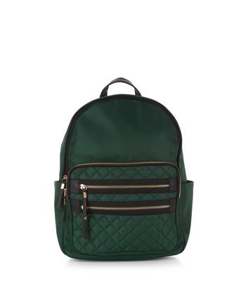 Green Quilted Pocket Front Backpack