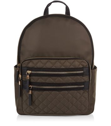 Khaki Quilted Pocket Front Backpack