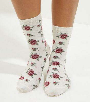 Cream Floral Print Socks