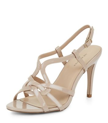 Nude Patent Cross Strap Front Heeled Sandals