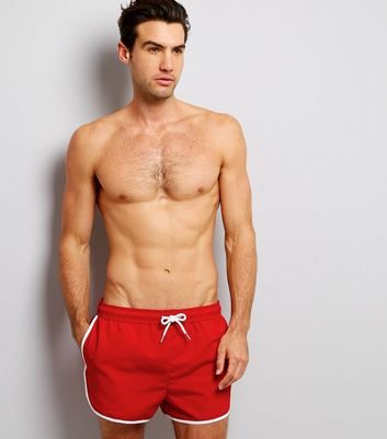 Red Contrast Trim Swim Shorts