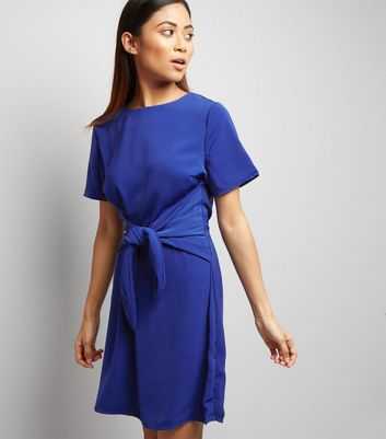 Petite Blue Tie Front A-Line Dress