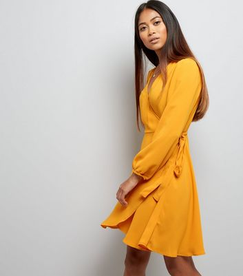 Petite Yellow Long Sleeve Wrap Front Dress