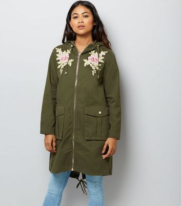 Petite Khaki Floral Embroidered Parka